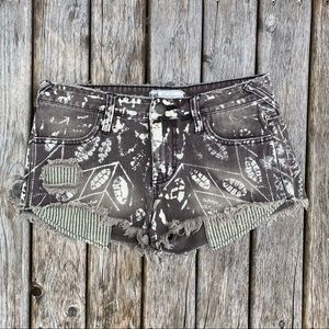 Free People Bleached Print Jean Shorts
